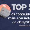 Confira os conteúdos mais acessados no nosso site em abril